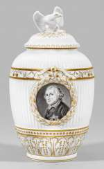 Lidded vase with portrait of