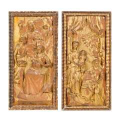 TWO PANELS WITH SCENES FROM THE LIFE OF THE HL. ANNA, Alpine, 18. Century,