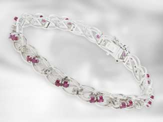 Bracelet: Elaborately manufactured and decorative vintage ruby / diamond goldsmith bracelet, approx. 2.6 ct, handcrafted from 14K white gold