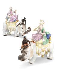 A PAIR OF MEISSEN PORCELAIN FIGURES OF A SULTAN AND SULTANA RIDING ON ELEPHANTS