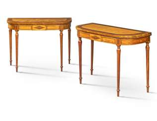 A PAIR OF GEORGE III INDIAN ROSEWOOD-CROSSBANDED SATINWOOD CARD TABLES
