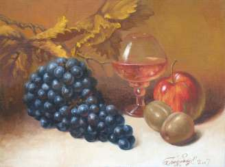 glass and plums