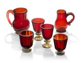 A GROUP OF 'RUBINGLAS' MINIATURE DRINKING VESSELS