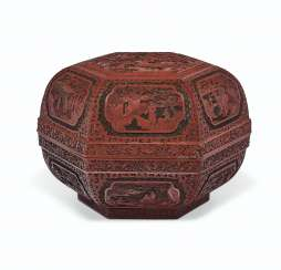 A FINELY CARVED HEXAGONAL THREE-COLOR LACQUER BOX AND COVER ...