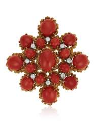 CORAL AND DIAMOND PENDANT BROOCH
