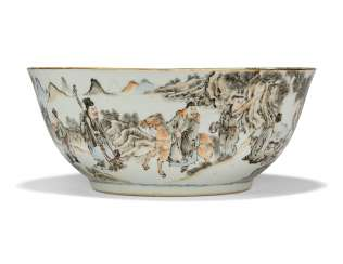 A CHINESE GRISAILLE AND ENAMEL PORCELAIN LARGE PUNCH BOWL