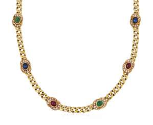 FRED DIAMOND AND MULTI-GEM NECKLACE