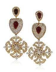 IMPORTANT AND LARGE CHANEL RHINESTONE AND GRIPOIX GLASS PENDANT EARRINGS