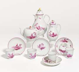 Coffee and tea service with purple landscapes