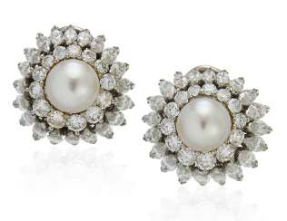 NATURAL PEARL AND DIAMOND EARRINGS WITH GIA REPORT