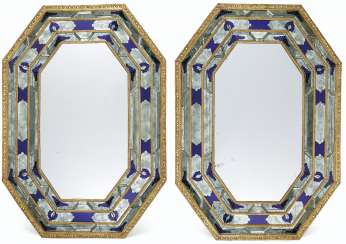A PAIR OF ITALIAN GILT-METAL, COBALT AND ETCHED GLASS MIRROR...