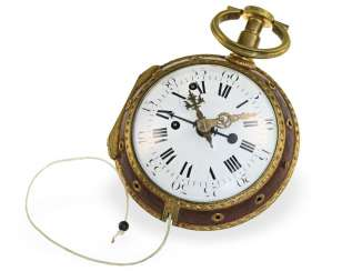 Pocket watch: early carriage watch with repeater and alarm clock, France around 1780