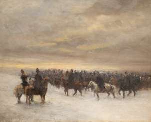 PYOTR Nikolayevich GRUSINSKIJ 1837 Kursk in 1892, St. Petersburg (attributed) rider in a snowy landscape