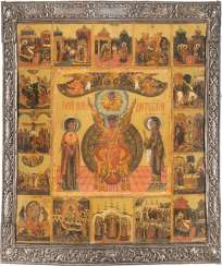 RARE AND LARGE-FORMAT ICON WITH SOPHIA, THE DIVINE WISDOM, WITH 16 HIGH STRENGTH OF THE ORTHODOX CHURCH YEAR, WITH SILVER BASMA
