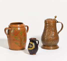 Double handle pot and small jug