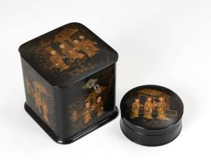 2 lacquer tray with gold painting Teedos