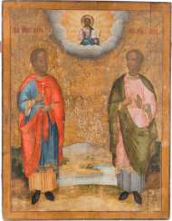 A MONUMENTAL ICON WITH THE SAINTS FLORUS AND LAURUS