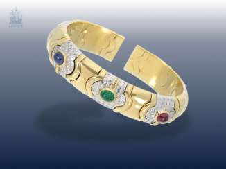Bracelet: very attractive and formerly very expensive vintage wrought gold, Italian hand work with colored stones and diamonds, 18K Gold, likely vintage Bvlgari