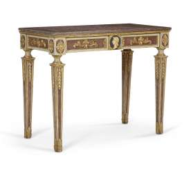 ITALIAN POLYCHROME-PAINTED AND PARCEL-GILT SIDE TABLE