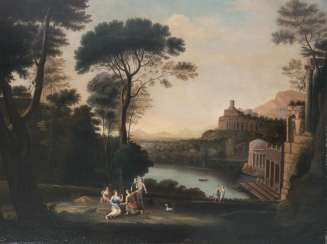 Ideal landscape with a hunting party of Diana French landscape painter in the manner of Claude Lorrain, active 2. Half of 18. Century