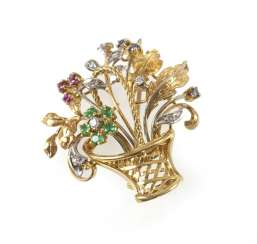 Flower Basket Brooch, 750 Gg/Wg,