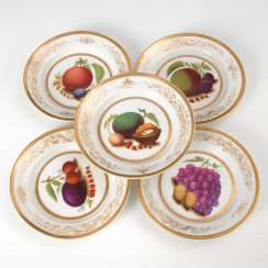 5 plates with fruit painting, Krister.