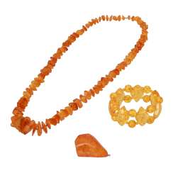 Mixed lot of amber jewelry 3-piece,