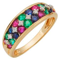 Ring with multicolored gemstones and diamonds