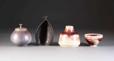 FOUR OF THE ARTIST'S CERAMICS. Germany, 2. Half of the 20th century. Century, Melanie Russ-Knels, as well as Otto Wichmann, among other things