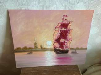Sailing boat in Pink Sunset