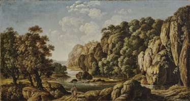 Rocky river landscape with figure staffage