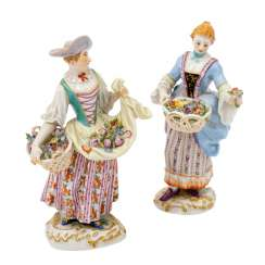 "MEISSEN ""flower seller"" and ""gardener"", 1st choice, 20th century"