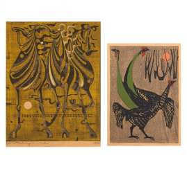 Woodcut: three horses