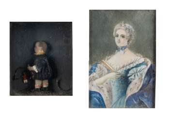 LADIES PORTRAIT MINIATURE AND A WAX IMAGE OF 'BOY WITH MATURE'