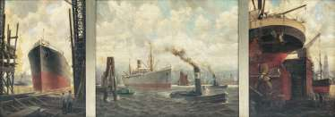 Triptych with the shipyard of German marine painter, active 1. Half of the 20. Century