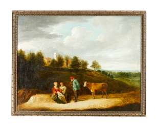 David Teniers the younger (1610-1690)-attributed a shepherd with two women and a cow in landscape in front of a village