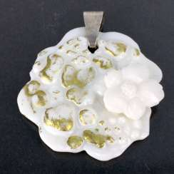 Designer-porcelain pendant in flower form with applied flower and Gold ornament, silver 925.