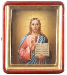 ICON WITH CHRIST PANTOCRATOR IN THE ICON CASE