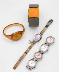 Four wrist watches by Paul Smith, Philippe Starck,