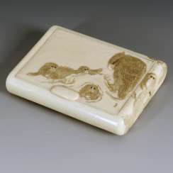 Ivory cigarette case with monkeys