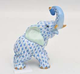 HEREND PORCELAIN ELEPHANT 1, glazed porcelain gold staffiertes porcelain, hand-painted, limited, marked, Hungary 20. Century