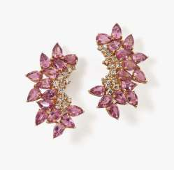 Cocktail stud earrings with pink tourmalines and diamonds Germany