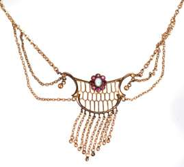Art Nouveau necklace with opal and ruby