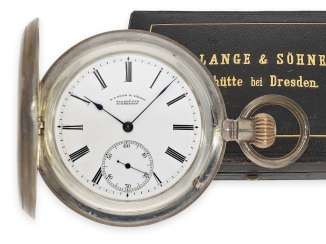 Pocket watch: glashütte rarity, large, A. Lange & Söhne Savonnette best quality 1A in very rare silver version, with original box and original papers, No. 47845, CA. 1905
