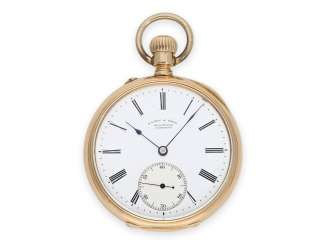 Pocket watch: early red-gold pocket watch by A. Lange & Söhne Glashütte, No. 26080, made for the K. K. watchmaker to the court, Anton Schlesinger in Vienna, approx. in 1887, with the master excerpt from the book