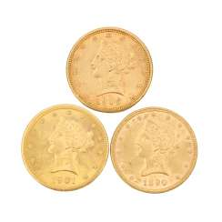 USA/GOLD - 3 x 10 Dollars Liberty Head