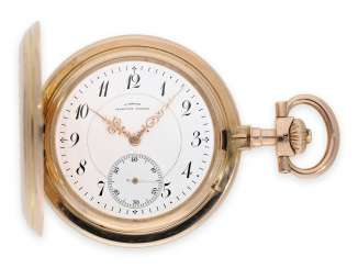 Pocket watch: Golden-red glashütte Anchor chronometer in exceptional quality and in almost mint condition, Julius Assmann Glashütte No. 13476, CA. 1890