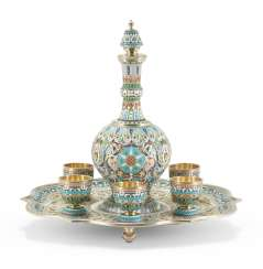 A CLOISONNÉ ENAMEL SILVER-GILT VODKA SET