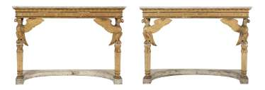 A PAIR OF NORTH ITALIAN EMPIRE PARCEL-GILT, CREAM AND WHITE-PAINTED AND SIMULATED-MARBLE CONSOLE TABLES