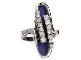 Ring: very attractive and exceptional Designer-goldsmith's ring with lapis lazuli and diamonds